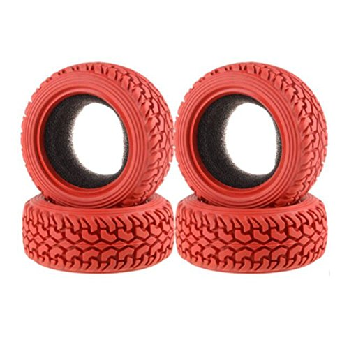 LAFEINA 4PCS High Performance RC Rally Car Grain Rubber Tires for 1:10 RC On Road Car Traxxas Tamiya HSP HPI Kyosho (Red) (Game Rc Rally)