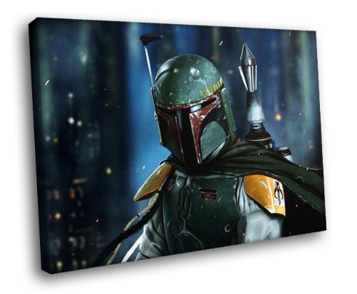 H5J0323 Boba Fett Star Wars Art 20x16 FRAMED CANVAS PRINT