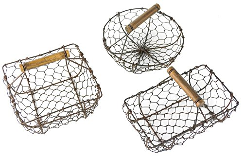 Rustic Metal Wire Berry Basket with Handles, Country Style - Set of 3 by Red Co.