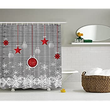 Red Holiday Star Ornaments And Snowflake U0026 Gray Christmas Fabric Shower  Curtain By Ambesonne