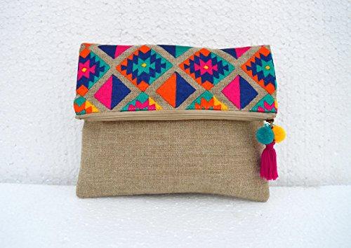 Boho Tasche, Leinen Tasche, Kelim Muster, marokkanisches, Foldover Kupplung, bestickt, 25,4x 20,3cm