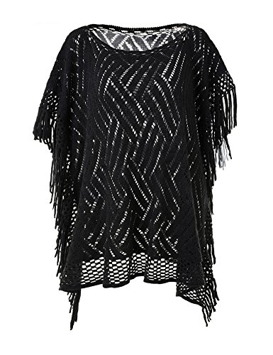 Ferand Women's Lightweight Boat Neckline Poncho Top with Fringed Sides and Hollowed Patterns , Black