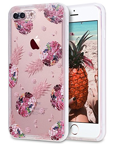 iPhone 8 Plus/iPhone 7 Plus Waterproof Case, LONTECT Crystal Clear Ultra Slim 360 Full Body Protective Case Dust Proof Snowproof Shockproof Cover for Apple iPhone 8 Plus/7 Plus - Clear/Pineapple
