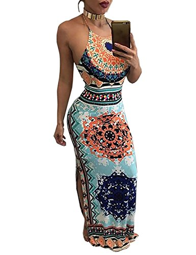VintageRose Womens Ethnic Side Split Halter Drawstring Maxi Dress,Multicoloured,Small (Sexy Very Dress Hot Silk)