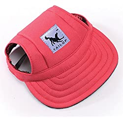 Happy Hours - Fashion Small Pet Dog Cat Baseball Visor Sports Hat Cap Puppy Summer Baseball Outdoor Ear Holes Sunbonnet Outfit Elastic Leather Neck Strap 6 Colors 2 Sizes Available(Red,Size M)