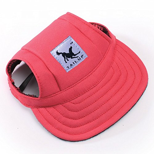 Cotton Dog Visor - Happy Hours - Fashion Small Pet Dog Cat Baseball Visor Sports Hat Cap Puppy Summer Baseball Outdoor Ear Holes Sunbonnet Outfit Elastic Leather Neck Strap 6 Colors 2 Sizes Available(Red,Size M)