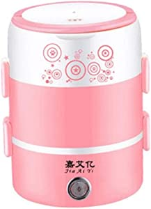 Double-layer electric lunch box, portable multi-function stainless steel hot rice artifact mini rice cooker plug-in cooking, insulation, cooking, gray (Color : Pink)