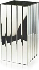 """Serene Spaces Living Tall Gatsby Mirror Strip Vase – Great Gatsby Inspired Luxe Glass Vase with Bevel Edged Mirror Strips, Use for Home Décor, Event Centerpieces and Much More, 6 ¼"""" SQ x 12 ½"""" H"""