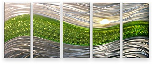 Metal Wall Art Modern Abstract Sculpture Huge 5 Panels Handmade Decor Green  Path: Amazon.co.uk: Kitchen U0026 Home