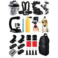Opteka X-Grip Stabilizer + Head Strap + Chest Strap + Car Suction Cup + Flexible Tripod + Floating Bobber + Action Handgrip + Dog Strap + Backpack + More For GoPro Hero4 Cameras