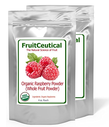FruitCeuticals Organic Red Raspberry Whole Fruit Powder (Not an Extract) - Satisfaction Guaranteed - 2 Pouches by FruitCeuticals