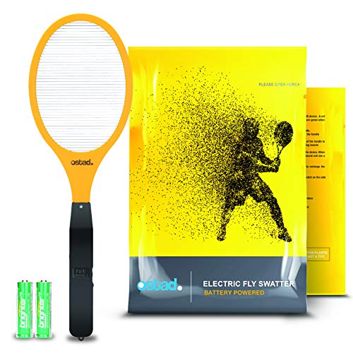 Ostad Premium 2800 Volt Electric Fly Swatter | Best Electric Fly Trap Zapper, AA Batteries Included, for Use Indoor/Outdoor for Bugs & pests, Hand Held, Easy to Use