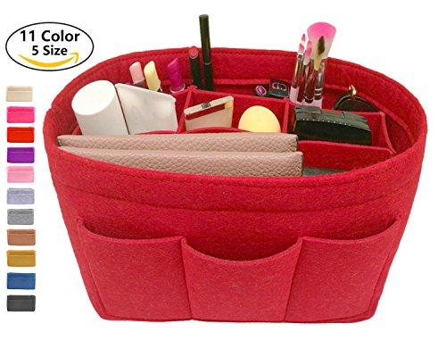 LEXSION Felt Handbag Organizer ,Insert purse organizer Fits Speedy Neverfull Red M