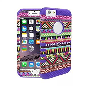PIZU Tribe Combo Hybrid Silicone Hard Case Skin for Apple iPhone 6 4.7 Inch Purple