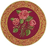 3 Feet Round Hooked Rug, Blooming Roses, Pink on Red, Scrolled Border