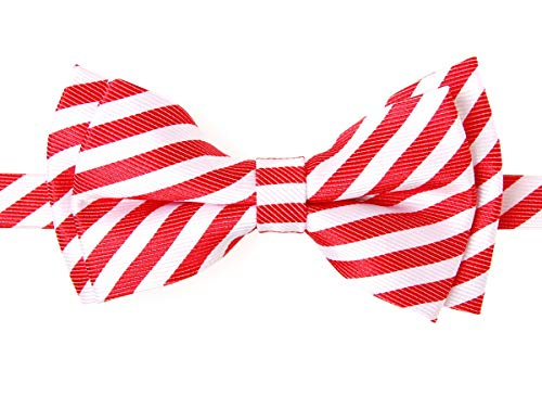 (Retreez Striped Woven Microfiber Pre-tied Boy's Bow Tie - Red and White Stripe - 6-18 months)
