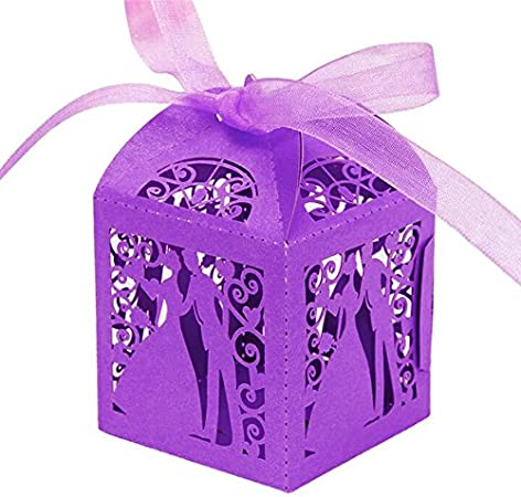Little Snow Direct 20pcs Bride /& Groom Boxes With Organza Ribbons Wedding Party Favour Laser Cut Sweets Cake Candy Gift Favor Lilac