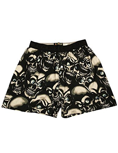 Fun Boxers - Mens Creepy Skulls Boxer Shorts, Black 34402-Small -