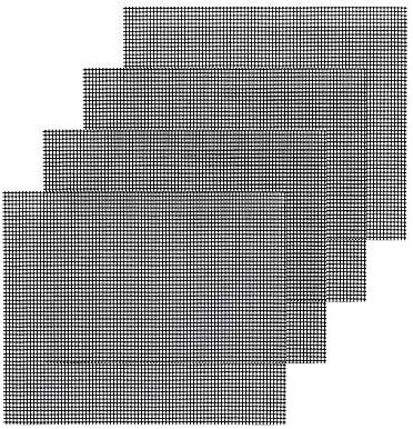 WW 4 pièces de Gril de téflon réutilisable pour Gril, Cuisson 40 X 33 cm