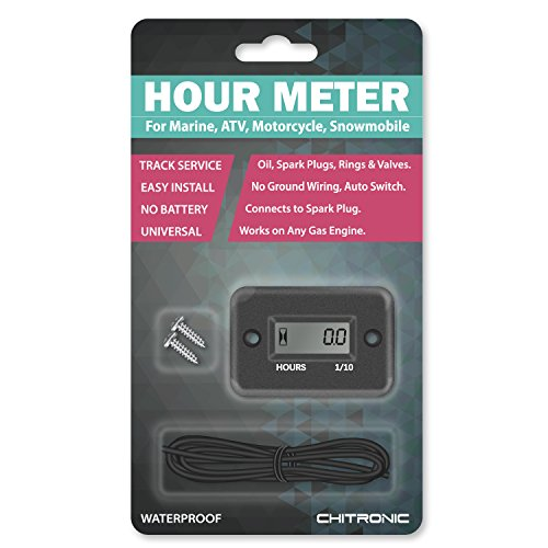 ChiTronic Waterproof Inductive Hour Meter for Marine ATV Motorcycle Snowmobile (Black)