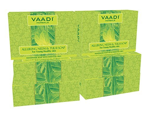 (Neem Soap (Neem Tulsi Bar Soap) with Aloe Vera Extracts, Vitamin E and Tea Tree Oil - Handmade Herbal Soap (Aromatherapy) with 100% Pure Essential Oils - ALL Natural - Best Anti-aging Therapy - Each 2.65 Ounces - Pack of 6 (16 Ounces) - Vaadi Herbals)