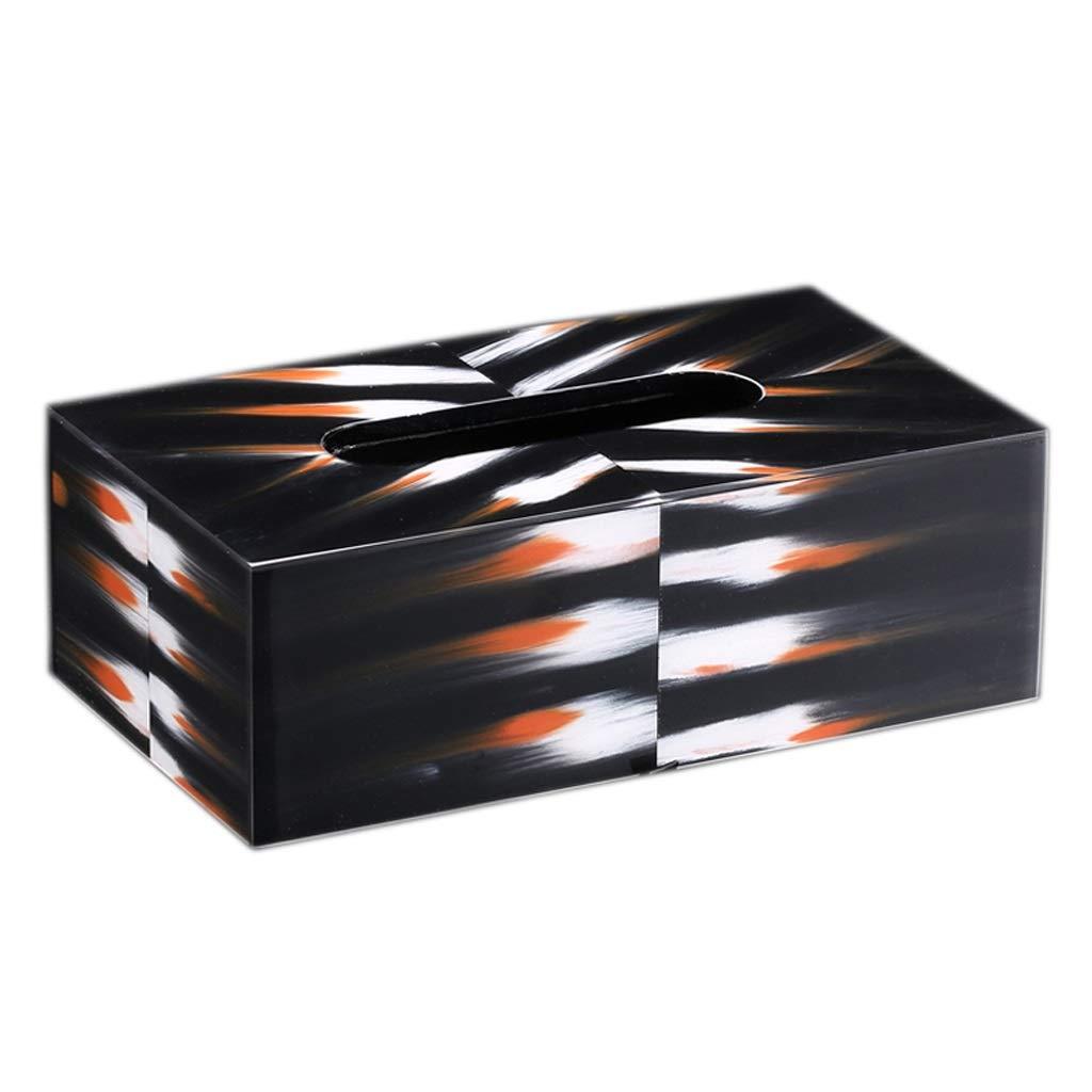 UCYG Nordic Lmitation Bovine Bone Tissue Box Modern Home Living Room Coffee Table Decoration Desktop Creative Storage Napkin Box,Black,23.513.28cm by UCYG
