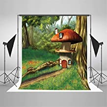 Photo Background 5x7 Green Forest Mushroom Wood House Backdrop for Newborn Photography Fairy Tale