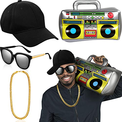80's Halloween Costumes Box (Hip Hop Costume Kit Hat Sunglasses Gold Chain 80s/ 90s Rapper Accessories (Black Baseball Cap, Boom)