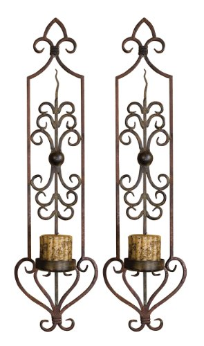 Mahogany Rust And Olive Bronze Privas Candle Wall Sconces Set Of 2 20987