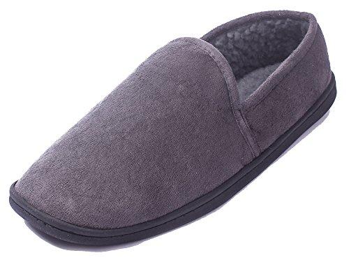 AgeeMi Shoes Damen Warm Weicher Slip on Rund Schließen Zehe Flache Pantoffeln Grau