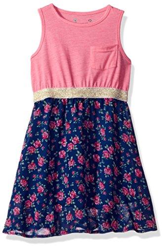 Girls Pink Jersey Dress - Dream Star Big Girls' Heather Jersey Dress W/Printed Chiffon, Aurora Pink, L/14