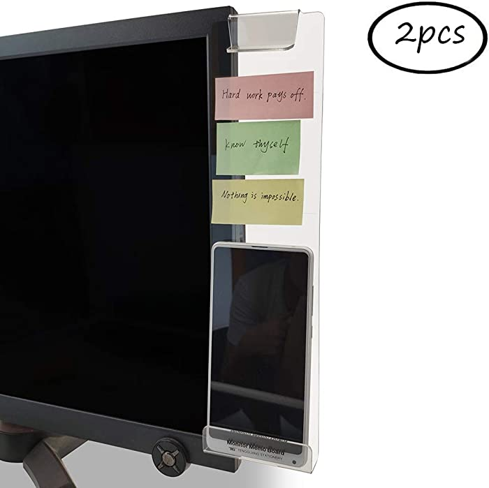 MINSA Fashion Multifunction Utility Acrylic Transparent Computer Monitors Side Panel/Memo Pads/Message Boards/Sticky Boards for Computer Screen, 1 Set (Left & Right) (Phone Holder)