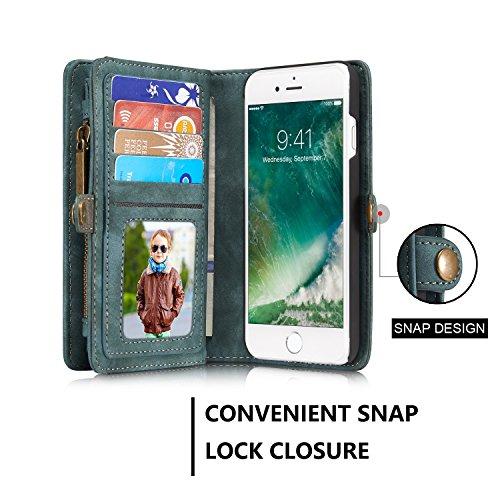 JIALUN-Caja del teléfono o cubierta Cubierta elegante de la caja del final de la carpeta desprendible del iPhone para el iPhone 7 Protege tu teléfono ( Color : Coffe ) Blue