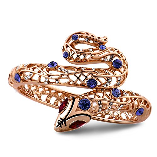 Viennois Sexy Snake Purple Crystal Bracelet Bangle Red Rhinestone Cuff Bracelet for Women
