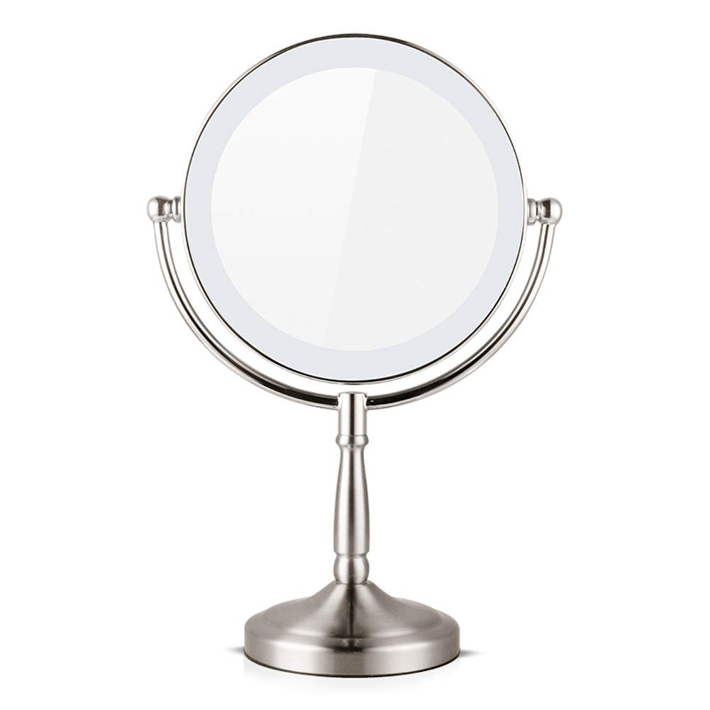 8 inch Tabletop 360 Degree Swivel Vanity Makeup Mirror White Round Shape Daylight LED Cordless Rechargeable USB Battery and Adapter for Bathroom Or Bedroom ZXLIFE@