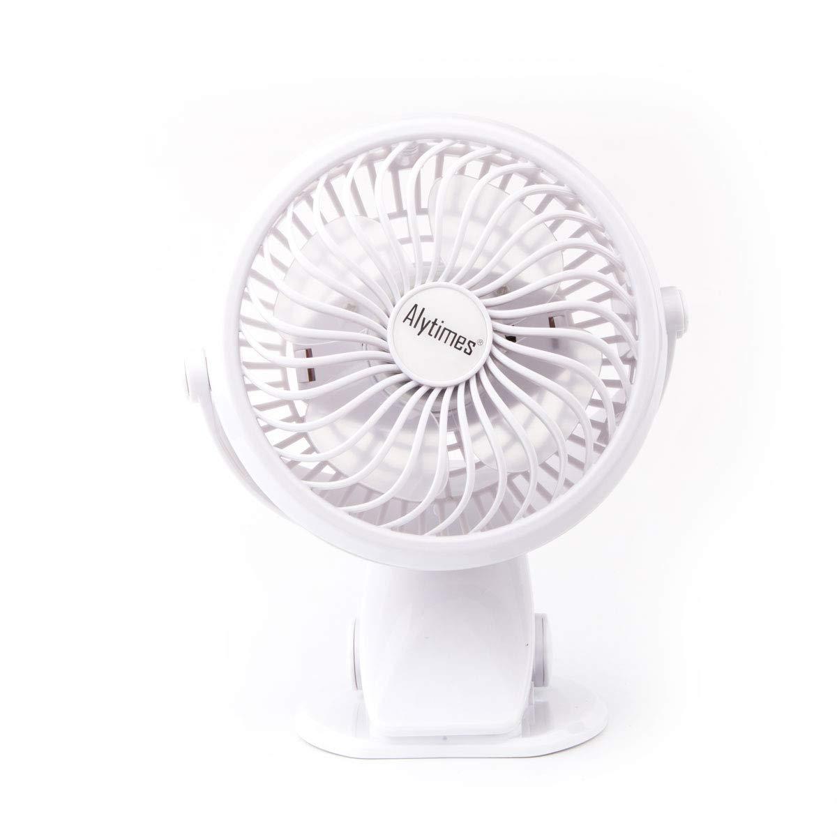 Black 360 Rotation Personal Clip Desk Fan Alytimes USB Clip On Fan for Baby Stroller