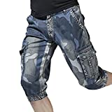 PASATO Fashion Mens New Casual Pocket Beach Work Short Trouser, Cargo Shorts Pants(Blue, 34)