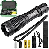 1200LM XM-L T6 LED Tactical Outdoor Flashlight Zoomable Zoom Focus Torch Lamp 18650 battery Charger