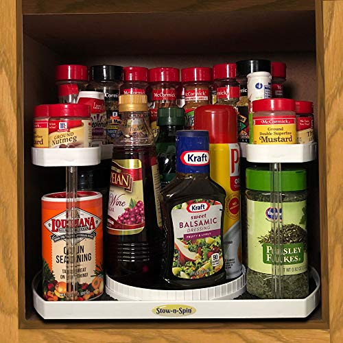 Stow N Spin 2 Tier Lazy Susan Turntable Spice Rack