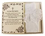 Wedding Collectibles Baptism Keepsake Gift Poetry Baby Girl Socks with Ruffled Anklet Lace Embroidered Cross Design (Size: Age 1-2)