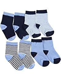 "Luvable Friends Baby Boys' ""Stripes + Solids"" 4-Pack Crew Socks"