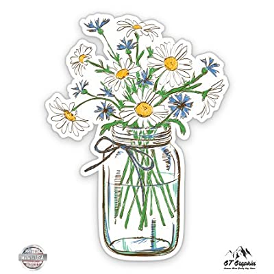 GT Graphics Daisies in Mason Jar - Vinyl Sticker Waterproof Decal: Sports & Outdoors