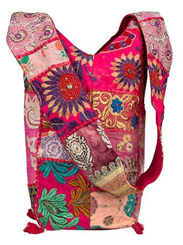 Tribe Azure Pink Large Floral Hobo Sling Shoulder Bag Cross Body Market Travel Fashion School Roomy