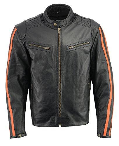 (M-BOSS APPAREL Men's Armored Leather Jacket w/Racing Stripes-BLK/Orange-XL)