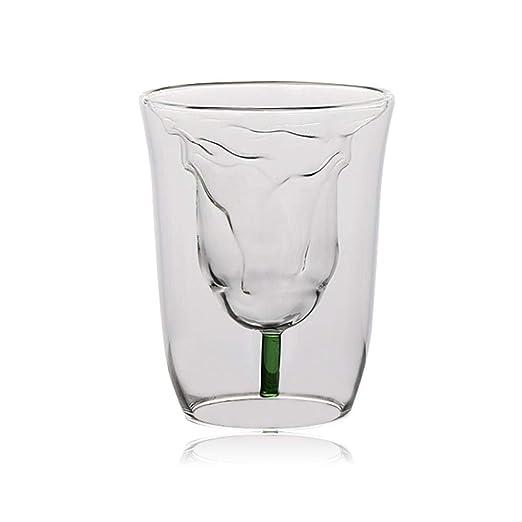 Hamkaw - Vaso de Cristal de Doble Pared con Aislamiento térmico ...
