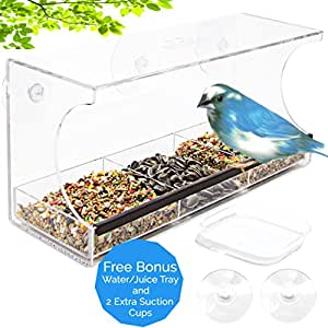 BUNDLE OFFER, Window Bird Feeder with Bonus Water Tray, Crystal Clear, Removable Feed Tray, Weatherproof Design, Drains Rain Water to keep bird seed dry! Enjoy wild birds!