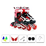 YANGXIAOYU Adult Beginners Children's Inline Skates, Professional Roller Shoes, Anti-Collision Shock All Flash Wheel, Blue Red Pink (Color : Red, Size : 39-42)