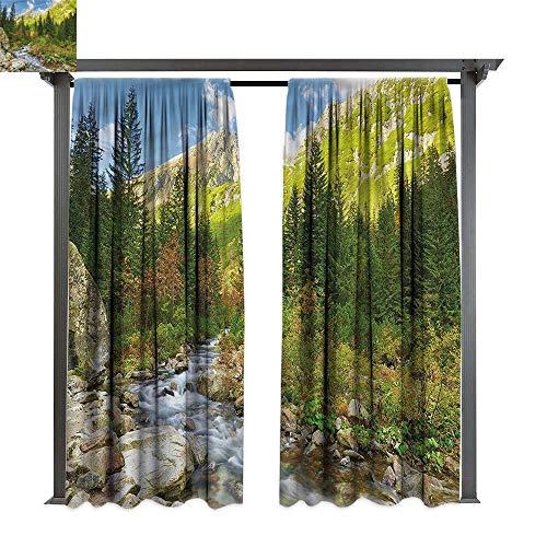 cobeDecor Outdoor Curtain Outdoor Roztoka Stream Tatra Park for Lawn & Garden, Water & Wind Proof W120 xL72 ()