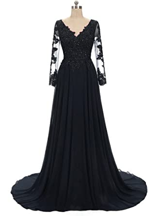 LOVING HOUSE Womens V Neck Lace Prom Dresses Long Mother of The Bride Dresses with Long