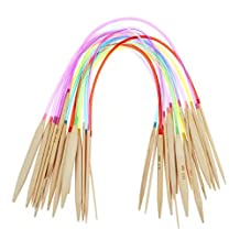 """Celine lin 18 sizes 16 inch""""(40cm) Colorful Circular Bamboo Knitting Needles (2mm-10mm)"""